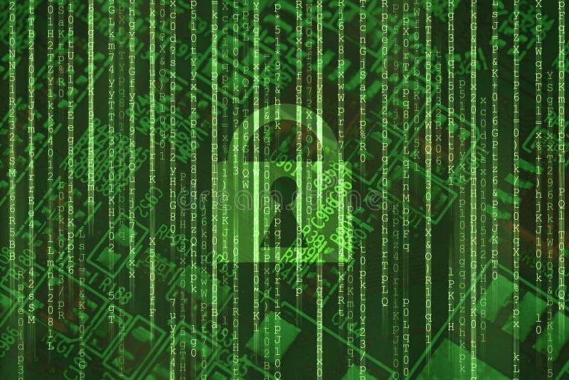 Serrure d'acc?s de s?curit? de Cyber sur la protection des donn?es en ligne de matrice de vert d'Internet binaire de fond illustration stock