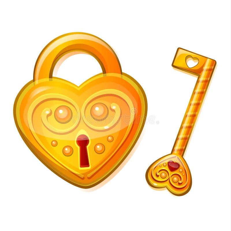 Serrure d'or sous forme de coeur illustration de vecteur