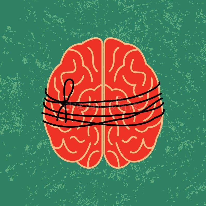 Serrure de cerveau, idée mentale attachée avec la corde illustration de vecteur