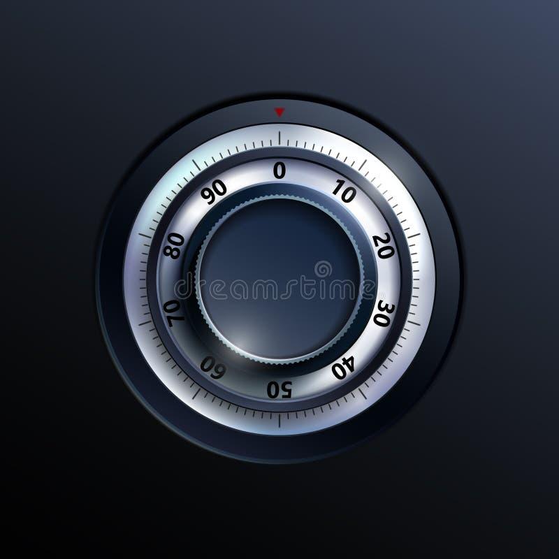 Serrure de combinaison réaliste Illustration sûre de porte avec le code de cadran illustration stock