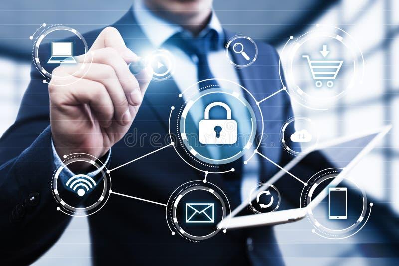 Serrure de sécurité de Cyber sur le concept d'intimité de technologie d'affaires de protection des données d'écran de Digital photographie stock
