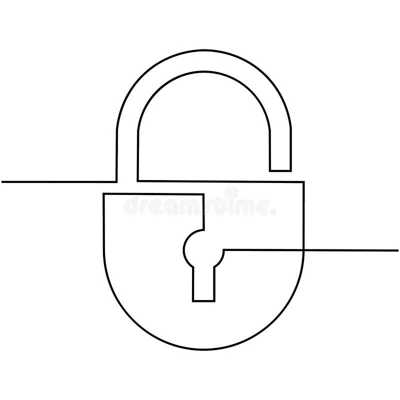 Serrure, dessinée par une ligne indissoluble sur un fond blanc Vecteur illustration de vecteur