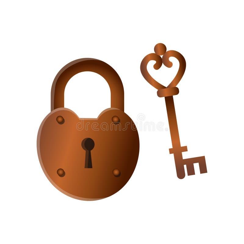 Serrure en bronze fermée en métal de rétro cru avec la vieille clé illustration de vecteur