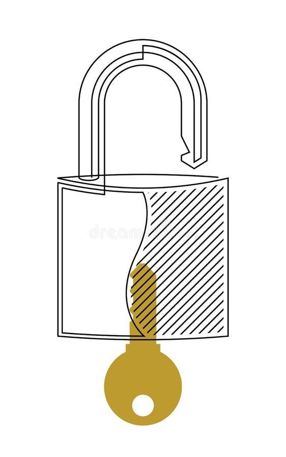 Serrure et ligne continue vecteur de clé illustration de vecteur