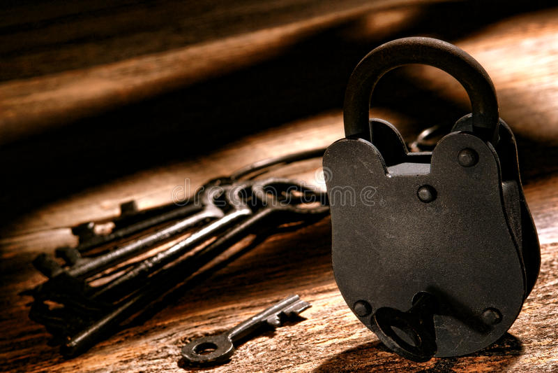 Serrure occidentale américaine de prison et clés occidentales de prison photos stock