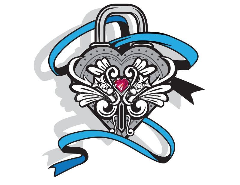 Serrure ornementée de coeur ENV illustration stock