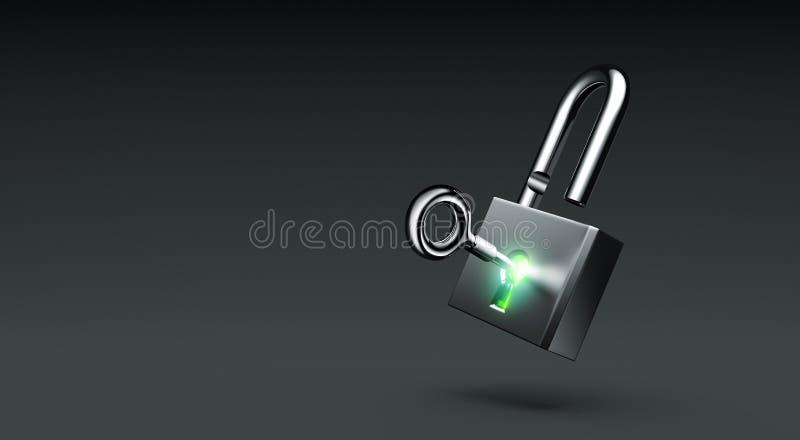 Serrure ouverte rougeoyante avec la clé sur le fond foncé illustration de vecteur