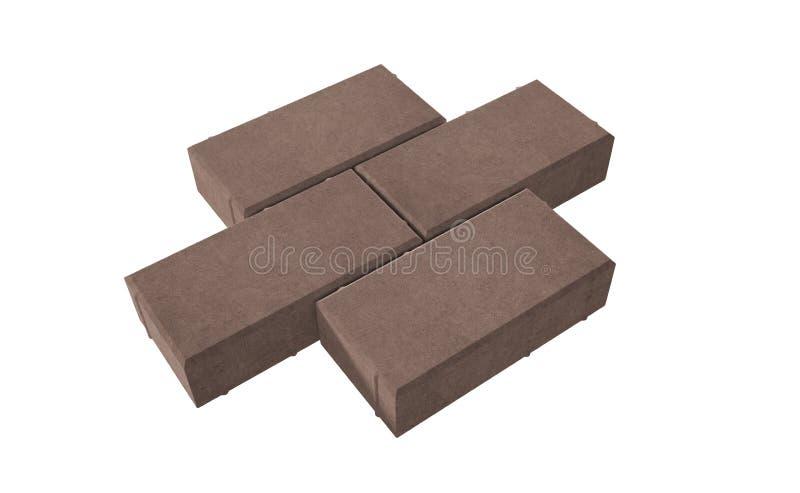 serrure trois brune pavant des briques D'isolement sur le fond blanc illustration stock