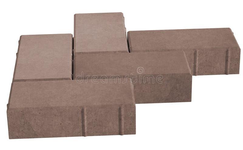 serrure trois brune pavant des briques D'isolement sur le fond blanc illustration de vecteur