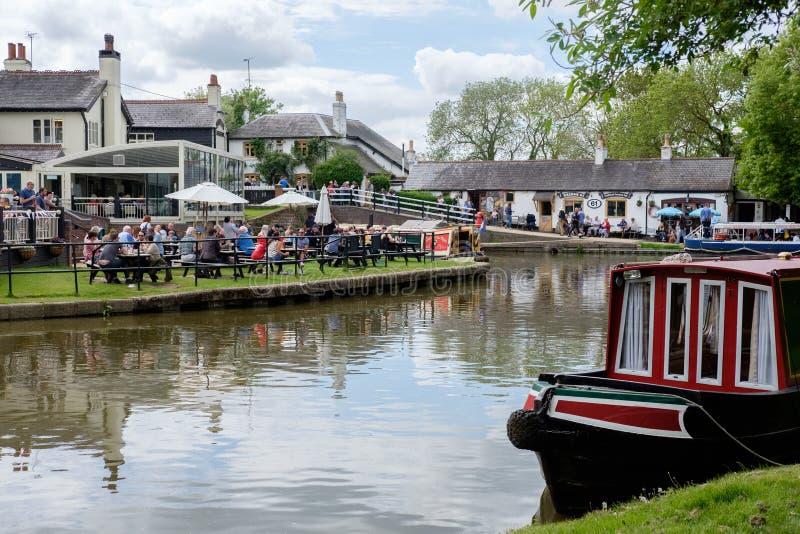 Serrures de Foxton sur le canal grand des syndicats, Leicestershire, R-U photos libres de droits