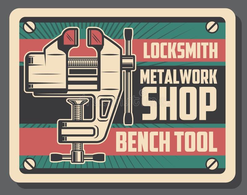 Serrurier et outil métallurgique d'étau au banc illustration libre de droits