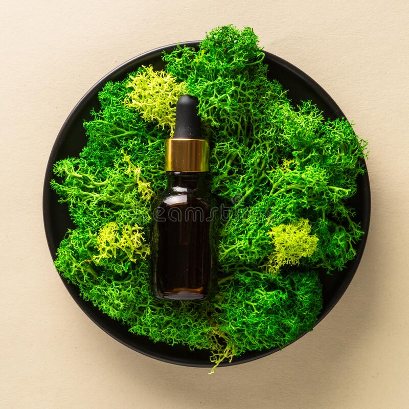 Free Serum Bottle With Moss At Natural Background. Royalty Free Stock Photography - 214298987
