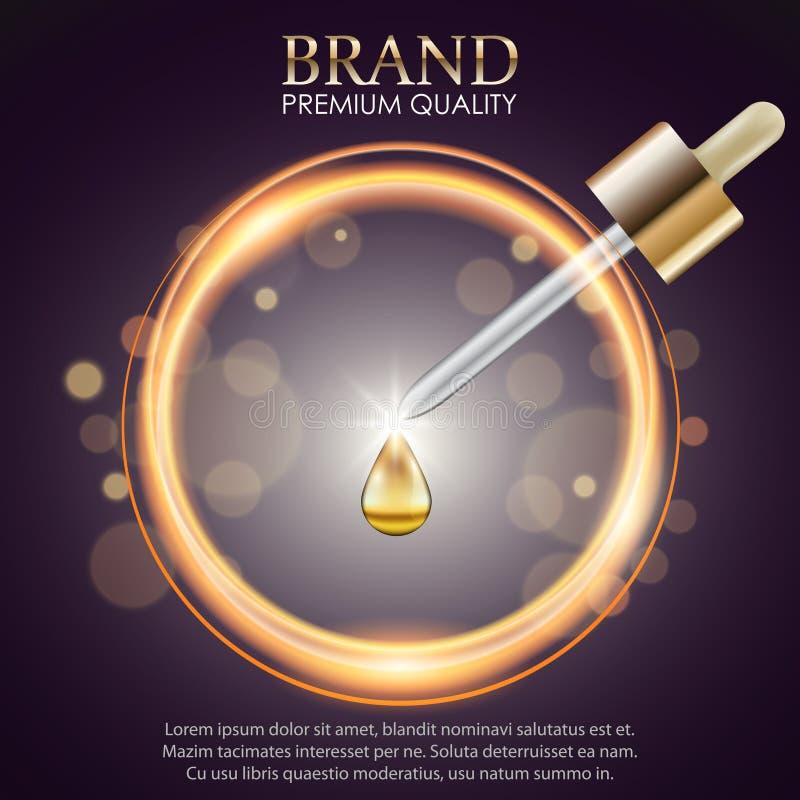 Serum essence drop on abstract blur background stock illustration
