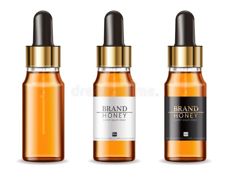 Serum kosmetyków butelek wektor realistyczny produktu plasowania egzamin pr?bny up Szczegółowe butelki odizolowywać 3D ilustracje royalty ilustracja