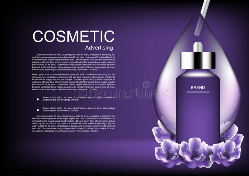 Serum with water drop and flowers on dark purple background vector purple cosmetic collection vector illustration