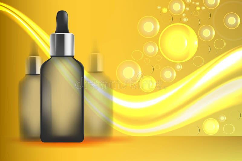 Serumextrakt som är guld- med droppglassen i flaska Behandling för formel för fuktighet för collagen för hudomsorg hydroponic med stock illustrationer