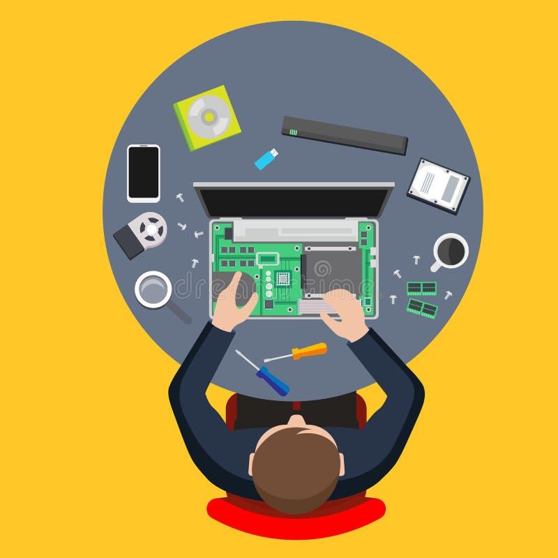 Servço informático Homem que repara o computador ilustração stock