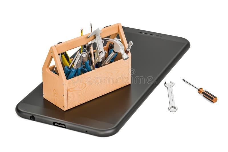 Serva och reparera smartphonebegreppet, tolkningen 3D royaltyfri illustrationer