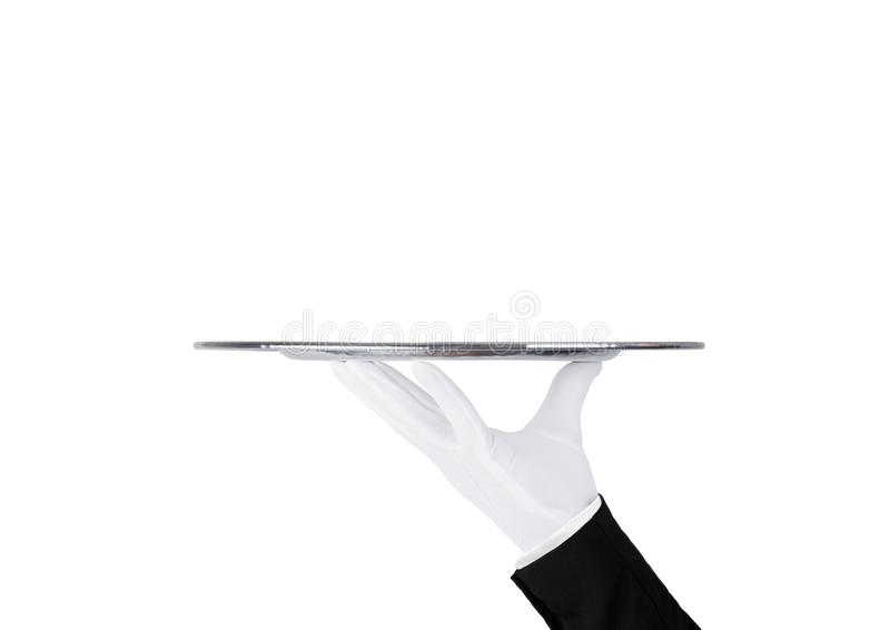 Servant white glove holds stainless steel tray. Servant wearing white glove holds stainless steel tray on white background stock photography
