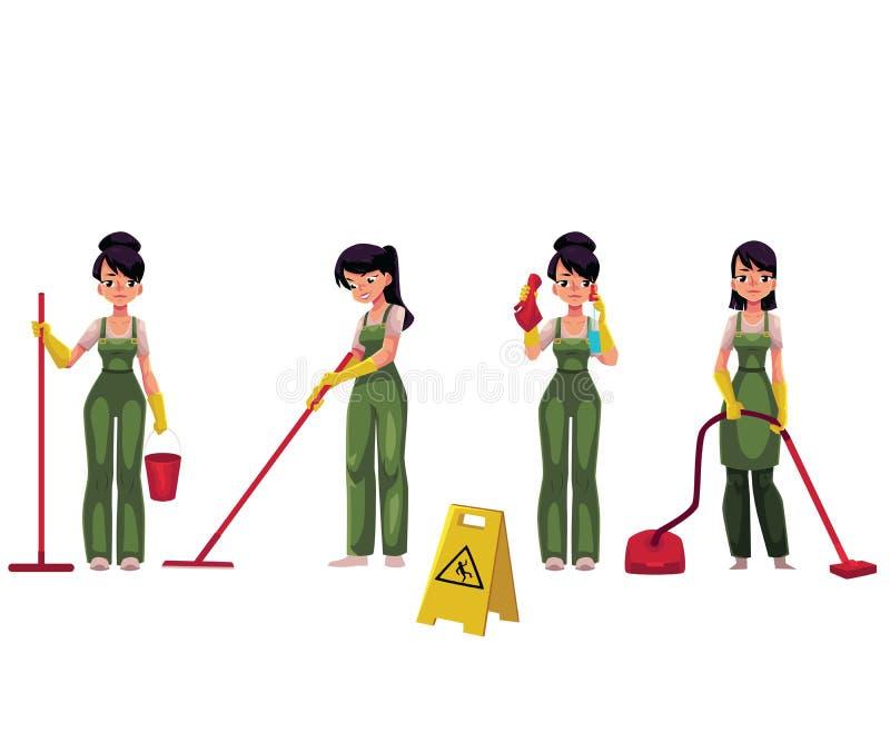 Servante de nettoyage, femme de ménage avec l'aspirateur, balai et seau illustration stock