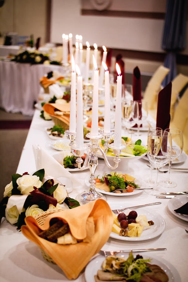 Served banquet table ready for guests stock photography