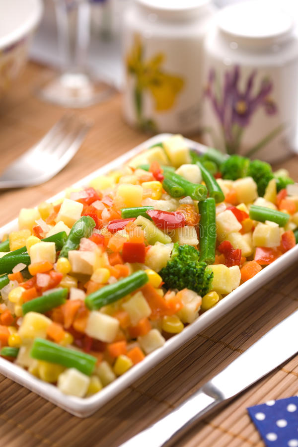 Served Chopped Vegetables Mixture Stock Photo