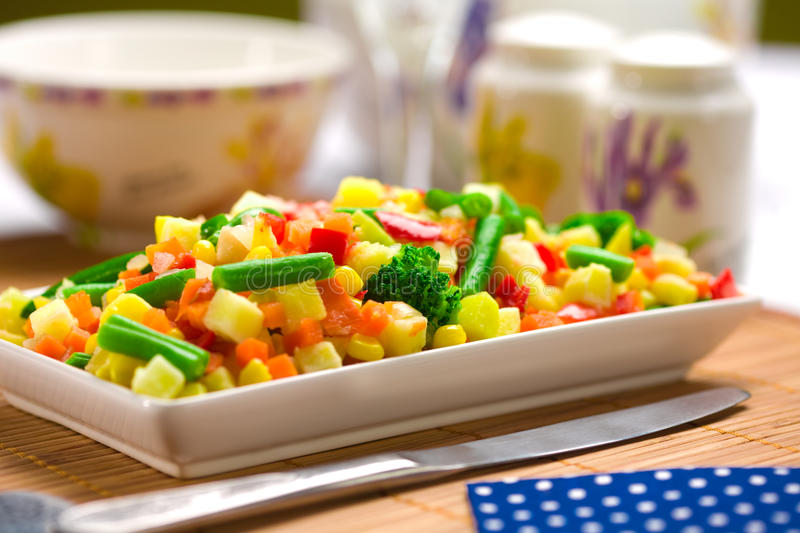 Served chopped vegetables mixture stock images