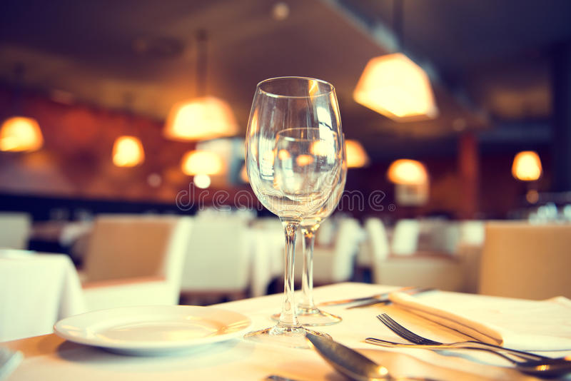 Served dinner table in a restaurant stock photo