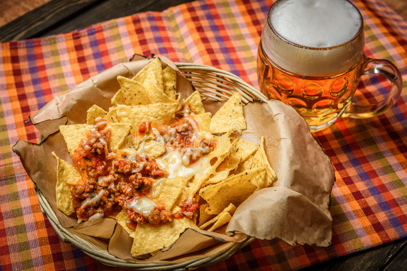 Served nachos with meat stock photography