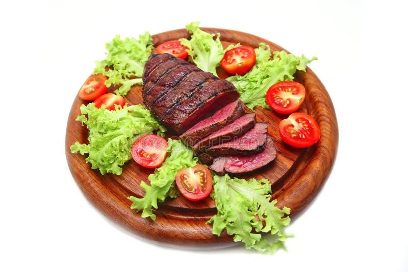 Served roast beef meat steak stock photo