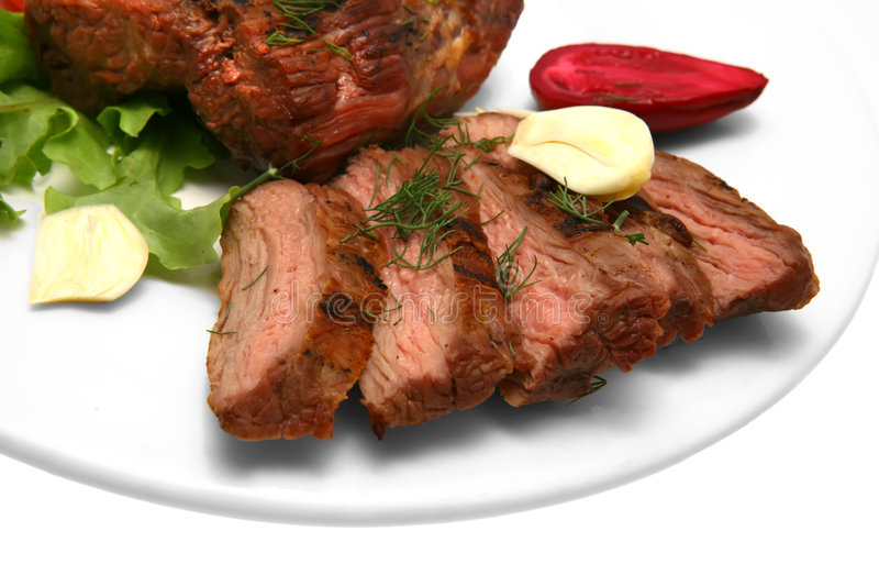 Served Roasted Beef On Color Dish Royalty Free Stock Image