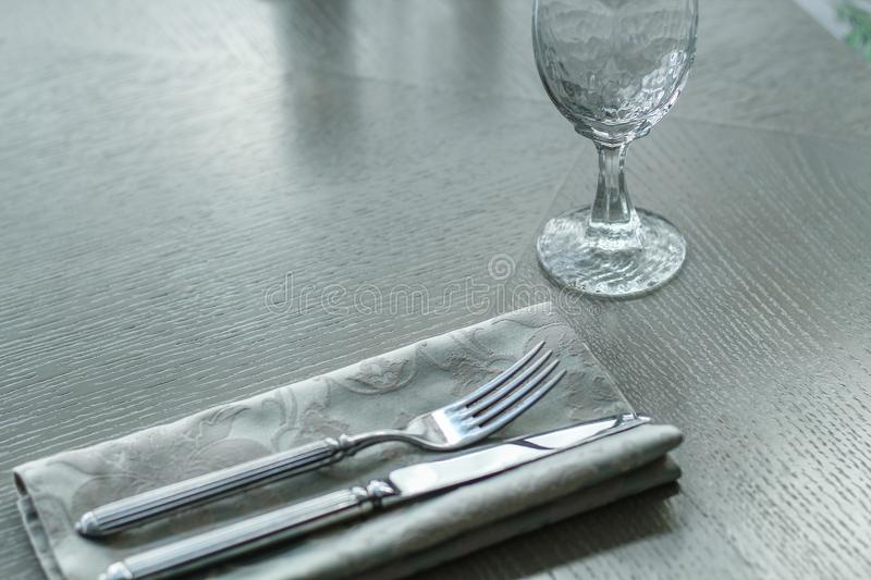 Served table in a cafe or restaurant in light colours stock images