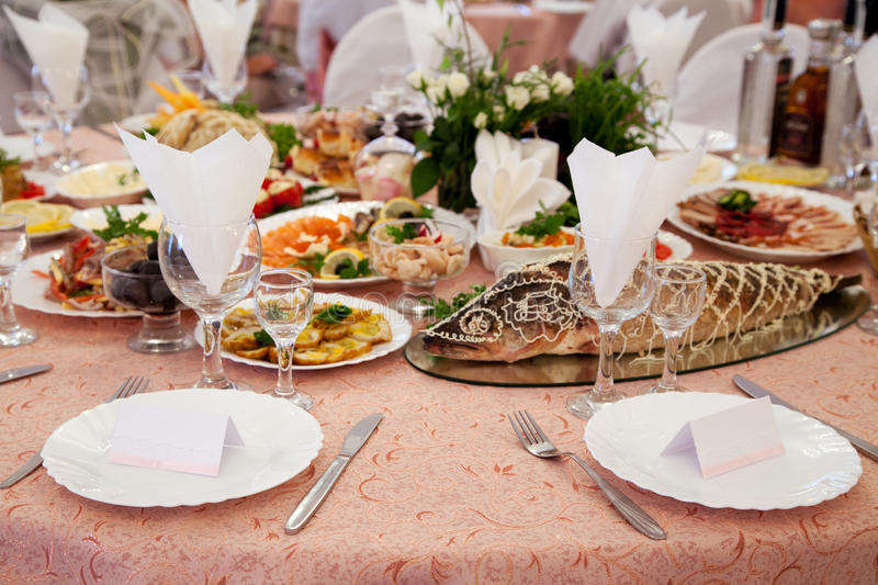 Download Served Table In A Restaurant Stock Image - Image: 26217291
