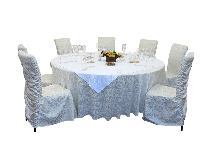 Served table in restaurant isolated over white stock photo