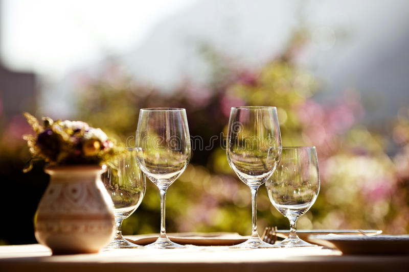 Served table at summer cafe stock photography