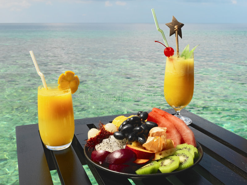 Served table at tropical resort royalty free stock image