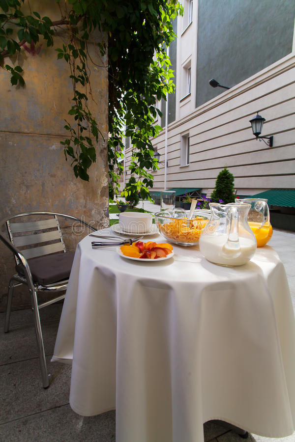 Served Vegetarian Breakfast Table In The Courtyard Stock Image