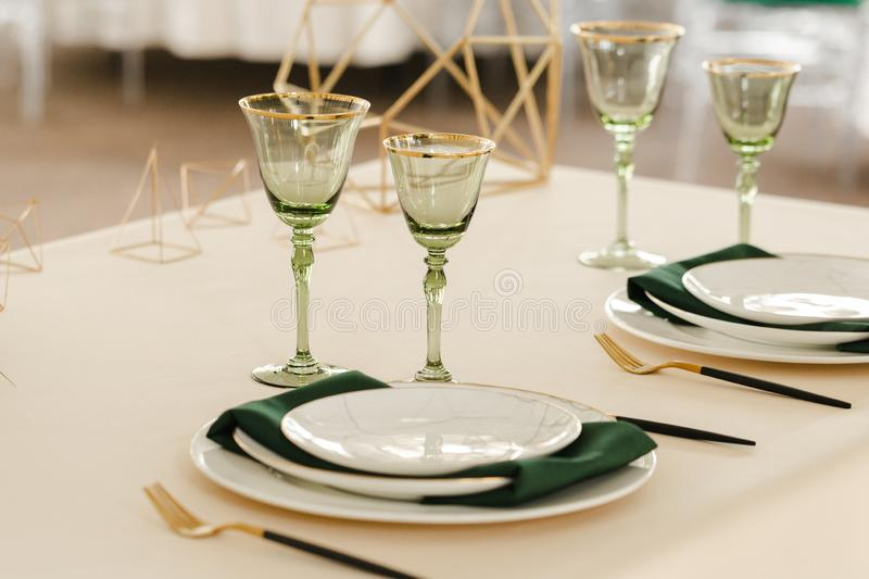 Served for wedding restaurant table with dishes, glasses,  cutlery stock images