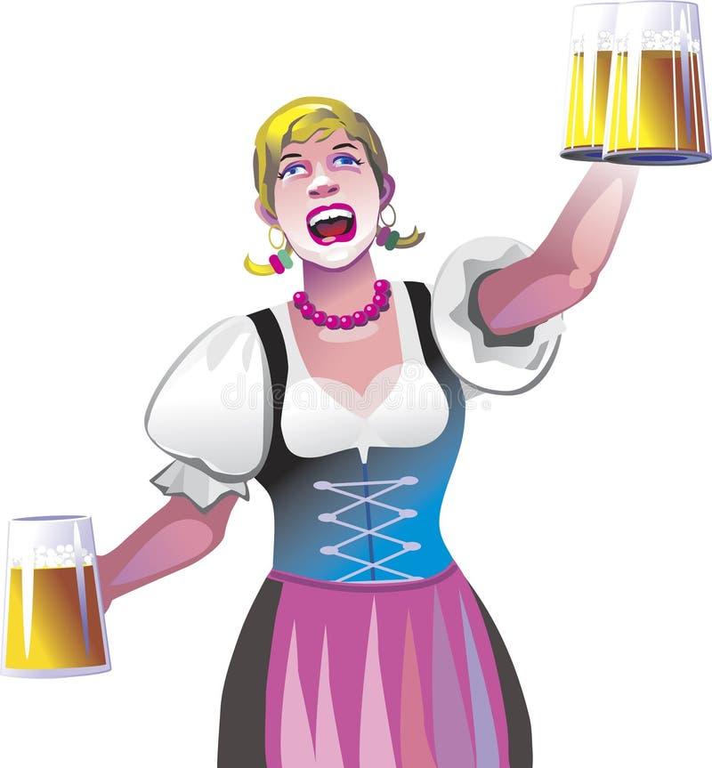 Serveerster met bier royalty-vrije illustratie