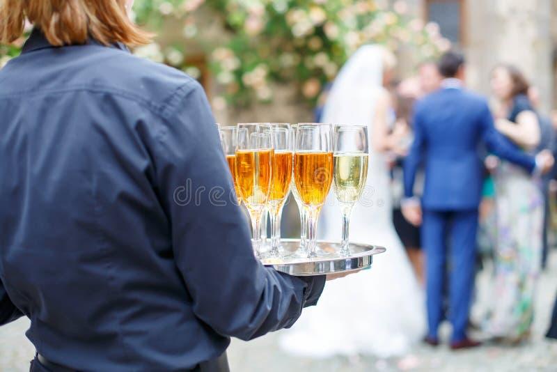 Serveerster met schotel van champagne en wijnglazen stock afbeelding