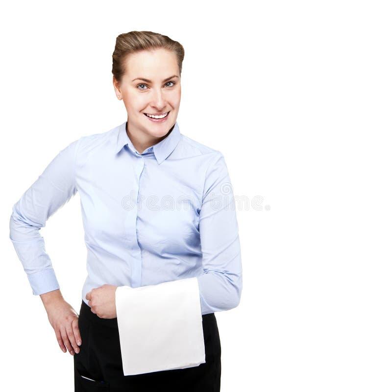 Serveerstervrouw die over witte geïsoleerde achtergrond glimlachen royalty-vrije stock foto