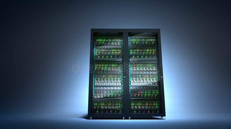 server Τρισδιάστατη απόδοση αποθήκευσης στοιχείων υπολογισμού σύννεφων στοκ εικόνες