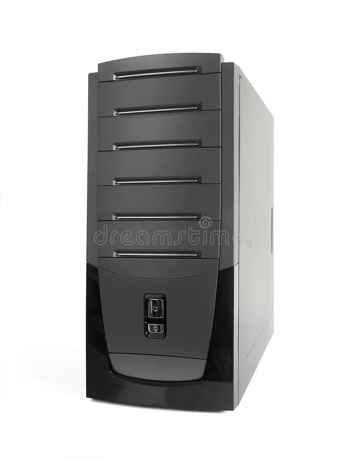 Server. Tower in graphite color over white background