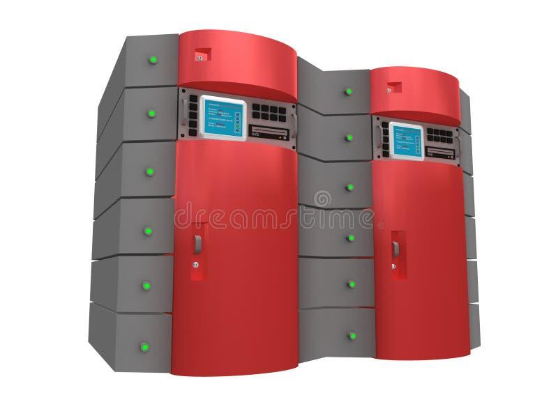Server 3d vermelho ilustração stock