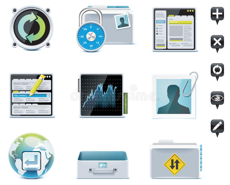 Server administration icons. Part 2. Set of the website or server administration icons vector illustration