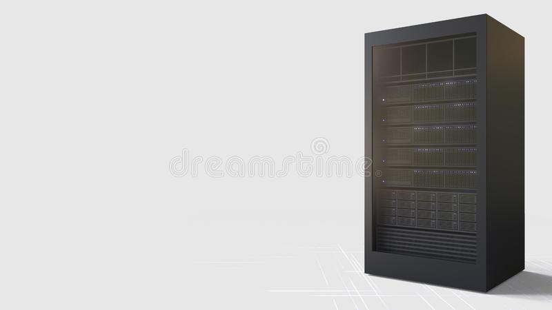 Server against white background, blank space for caption. 3D rendering. Server against white background, blank space for caption stock illustration