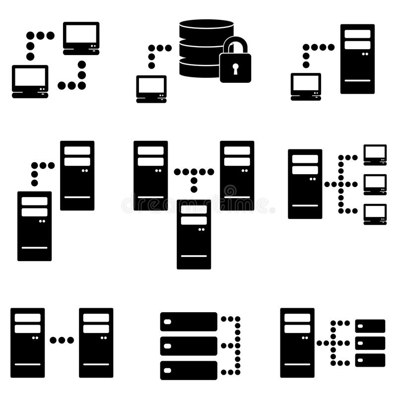 Download Server, big data icon set stock vector. Illustration of security - 37952943