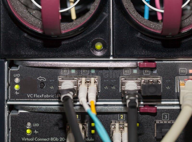 Server Blade with optical fiber and LAN connection stock photos