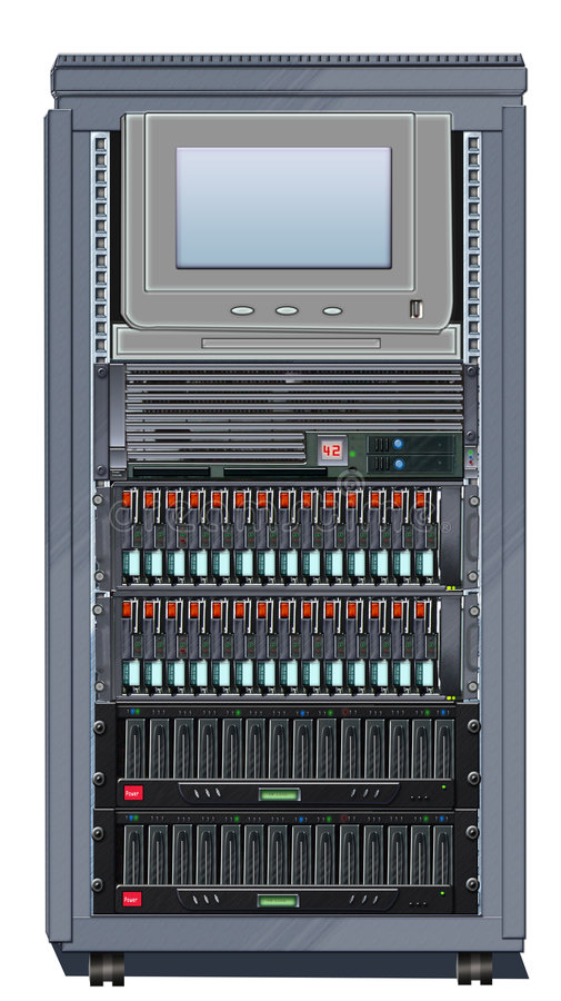 Server Cabinet, Rack Mounted 2. Illustration of a Cabinet populated with rack mounted Computer Server and Disc Arrays royalty free illustration