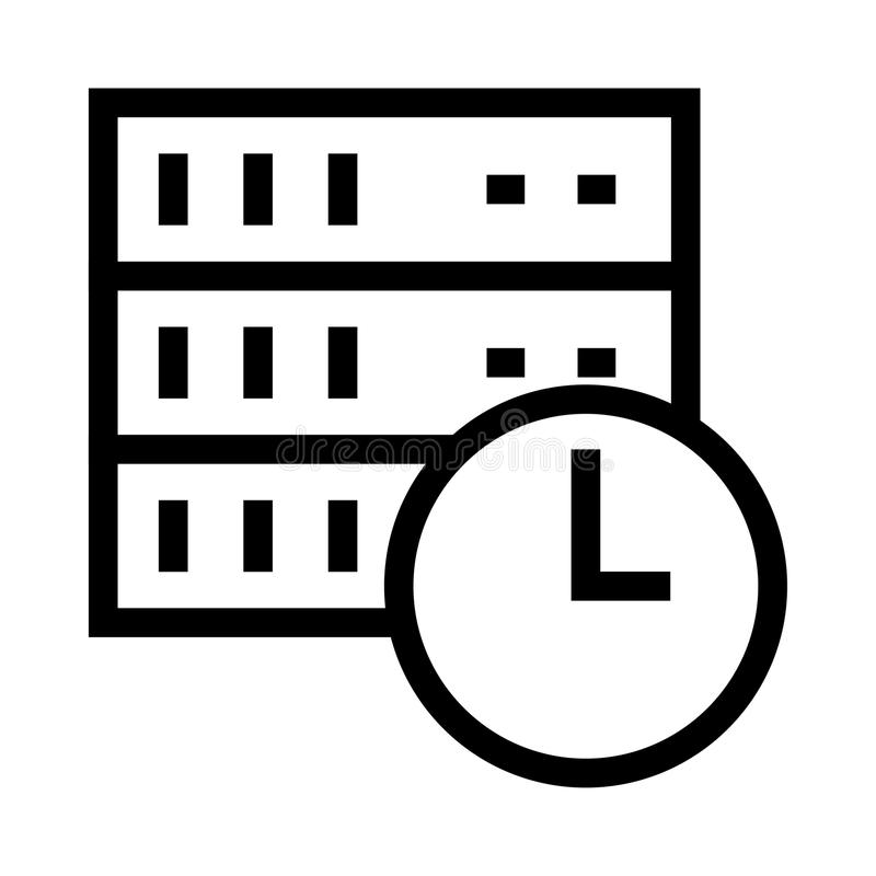Server clock vector glyphs icon. Elements for mobile concept and web apps. Thin line icons for website design and development, app development. Premium pack stock illustration